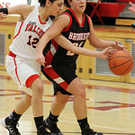 ANNA NORRIS/CHRONICLE<br /> Firelands&#039; Alyssa Melendez knocks the ball from Brookside&#039;s Miranda Verlatto possession in the second quarter Monday night at Firelands High School.
