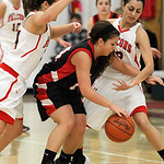 ANNA NORRIS/CHRONICLE<br /> Brookside&#039;s Miranda Verlatto struggles to control the ball as Firelands&#039; Heather Smyth (34) and Alyssa Melendez (12) trap her in the first quarter Monday night at Firel &#8230;