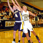North Ridgeville's Sami Shaw, left, and Olmsted Falls' Kerri Gasper fight for the ball. LINDA MURPHY/CHRONICLE