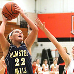 ANNA NORRIS/CHRONICLE<br /> Olmsted Falls&#039; Kerri Gasper puts up a shot against North Olmsted&#039;s Stephanie Kemp in the second half Saturday afternoon at North Olmsted High School.