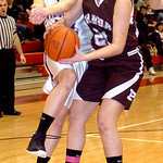 Keystone&#039;s #12 Jennifer Schaffer fights Padua&#039;s #21 Savannah Heckelmoser for the rebound.
