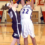 Keystone&#039;s #22 Darcy Irish tries to shoot past Padua&#039;s #30 Alyssa Freeman.