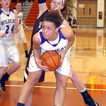 Keystone&#039;s #22 Darcy Irish grabs the rebound from Padua&#039;s #30 Alyssa Freeman.