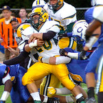 9-13-13 linda murphy</p> <p>amherst&#039;s #20 Jacob Sciarrotta digs for more yardage.