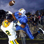 9-13-13 linda murphy</p> <p>amherst&#039;s #2 Donte Dower breaks up the pass to Clearview&#039;s #9Lance Billings in the endzone