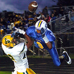 9-13-13 linda murphy</p><p>amherst&#039;s #2 Donte Dower breaks up the pass to Clearview&#039;s #9Lance Billings in the endzone