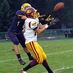 North Ridgeville&#039;s Logan Armaro breaks up the pass to Avon Lake&#039;s Jeremiah Campo.<br/>Linda Murphy/Chronicle