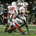 Elyria's #38 Keon Nealy fumbles.