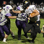 ANNA NORRIS/CHRONICLE<br /> Black River running back Andrew Vaughn blocks out Keystone&#039;s Clay Hartley on the run in the second quarter Friday night at Keystone High School.