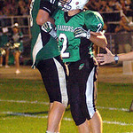 10-4-13 linda murphy</p> <p>columbia&#039;s (left) #8 Jay Banyasz celebrates #2 Jesse Lamberts touchdown in the 1st half.