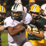 Elyria Catholic's #44 Justin Rankin works his way through defenders for a big gain in the game at Amherst. BRUCE BISHOP/CHRONICLE