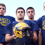 North Ridgeville Rangers co-captains, left, Mitch Bugala, David Riley, PJ Bunevich and Eric Knoblauch on Oct. 27.  Steve Manheim/CT