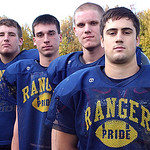 North Ridgeville Rangers co-captains, front, David Riley,     Eric Knoblauch, PJ Bunevich and Mitch Bugala on Oct. 27.   Steve Manheim/CT