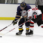 ANNA NORRIS/CHRONICLE<br /> Olmsted Falls&#039; Joey Egan and Parma&#039;s Joe Gallo fight for control in the first period Sunday afternoon in Parma.