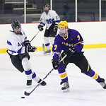 Midview's Bradley Urig races to take the puck from Lakewood's Colin Scheel. In the background is Midview's  Austin Steindl. photo by Ray Riedel