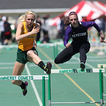 Amherst's Gaby Northeim (left) and Keystone's Jenna Quillen compete in the 300m hurdles. Jenna placed 2nd, Gaby placed 4th at the 2014 Comet Relays. photo by Ray Riedel