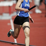 Autumn Young of CVCA runs the first leg of the 4x400m prelim at the OHSAA state championship. photo by Ray Riedel