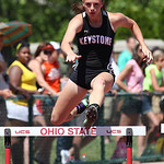 Keystone's Jena Quillen qualifies for the finals in the 300m hurdles in the OHSAA state championship. photo by Ray Riedel