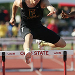 St. Ed's Steele Wasik of Medina, wins 1st place in the 300m hurdles at the OHSAA state championship. photo by Ray Riedel