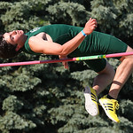"Medina's Andrew Stenger clears 6' 7"" for 2nd place at the Division I Regional championships in Amherst. photo by Ray Riedel"