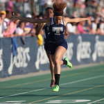 Jocelynn Rogers of Lorain finishes 3rd in the 200m race at the Division I Regional championships in Amherst. photo by Ray Riedel