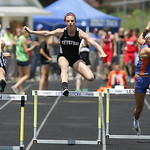 Jenna Quillen placed 4th in the 300m hurdles at the Division II Regional championships in Lexington. photo by Ray Riedel