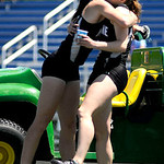 Keystone's Jenna Quillen hugs teammate Emily Peters after Quillen and Peters both placed first in their individual events.  KRISTIN BAUER | CHRONICLE
