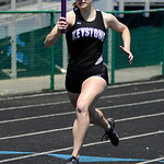 Keystone's Emily Peters runs in the girl's 4x200m Relay. KRISTIN BAUER   CHRONICLE