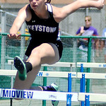 Keystone's Jenna Quillen runs in the girl's 100m hurdles.   KRISTIN BAUER | CHRONICLE