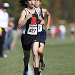 12Oct13_Brookside's Creighton Jensen edges out Oberlin's Simon Perales for 2nd place at the PAC cross country championships. photo by Ray Riedel