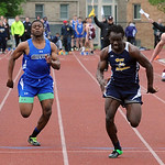 North Ridgeville Demario McCall beats out Midview Dante Redwood in boys 100 meter dash in West Shore conference champs May 15.  Steve Manheim