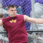 Avon Lake's Max Seipel throws the shot at the Avon Lake Invitational Meet. photo by Ray Riedel