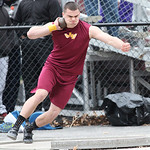 Avon Lake's Max Seipel throws the shot 55' for 3rd place at the Avon Lake Invitational Meet. photo by Ray Riedel