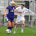 Avon's No. 19 Emilie Wetzig and Amherst's No. 2 Lindsay Sands Oct. 19.  Steve Manheim