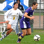 Avon's Holly Ohradzasnsky and Amherst's Mia Haslage go after ball Oct. 19.  Steve Manheim