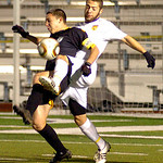 10-27-11 linda murphy</p> <p>Avon&#039;s #5 Kevin Manouchehri blocks and takes the ball from Amherst&#039;s #3 Connor Kiekota.
