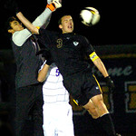 10-27-11 linda murphy</p> <p>Avon&#039;s goalee #1 Austin Saini blocks Amherst&#039;s #3<br /> Connor Klekota&#039;s header.