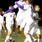 Avon's No. 23 Ryan Poyle and No. 18 Brendan Cannon celebrate Avon's 2nd goal.