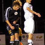 Avon Lake's No. 12 Ryan Schneider and Avon's No. 20 Ryan Repas go up for a header.