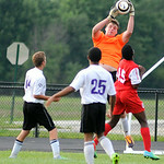 Keystone goalie Brandon Moffat makes a save against Elyria. KRISTIN BAUER | CHRONICLE
