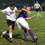 ANNA NORRIS/CHRONICLE<br /> Vermilion&#039;s Josh Buchanan turns to keep ball away from Firelands&#039; Gus Tapper in the second half Monday night in South Amherst.