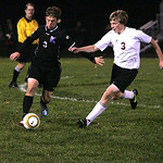 Firelands&#039; Nickolas Harris, right, tries to get the ball from a Keystone player.