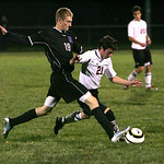 Keystone&#039;s 19 Collin Fitzgerald and Firelands&#039; James Keressi fight for control of the ball.