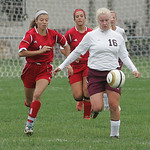 Firelands' #12 Jessica Beran, #14 Brandi Holowecky, and Wellington's #16 Julia Marks.