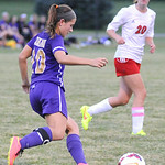 Vermilion's Madison Lachner looks to pass the ball past Firelands' Rebecca Jackson. KRISTIN BAUER | CHRONICLE