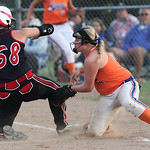 Kate-Lynn Urgo of M.C. Madness Black is safe at third in the ASA softball semi-final game. photo by Ray Riedel