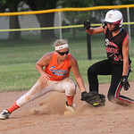 Taylor MacWade of Medina sides safe to second base in the ASA state softball semi-final game. photo by Ray Riedel