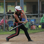Amanda Beursken of Midview lines up a hit in the ASA state softball semi-final game. photo by Ray Riedel