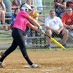 Carleigh Herrington of Keystone hits an RBI single. STEVE MANHEIM/CHRONICLE