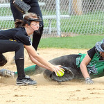 Columbia Kaley Marshall slides safe into third base before the tag by Black River Brooke White in first inning Apr. 23.  Steve Manheim